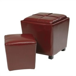 2 Piece Eco Leather Ottoman Set in Red