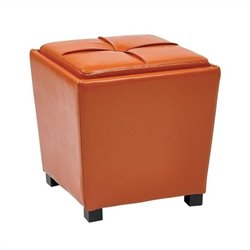 Office Star Metro 2 Piece Vinyl Ottoman Set in Orange