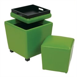 Office Star Metro 2 Piece Vinyl Ottoman Set in Green