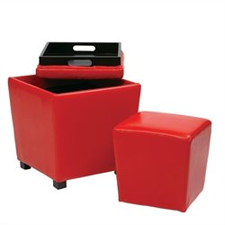 2 Piece Vinyl Ottoman Set in Red