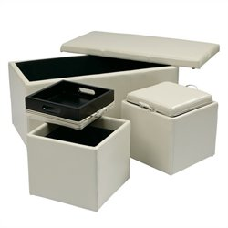 Office Star Metro 3 Piece Eco Leather Ottoman Set in Cream