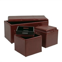 Office Star Metro 3 Piece Eco Leather Ottoman Set in Red