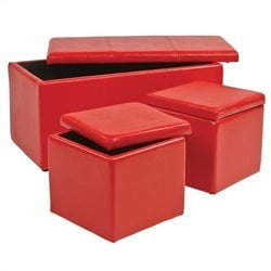 Office Star Metro 3 Piece Vinyl Ottoman Set in Red