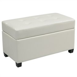Office Star Metro Vinyl Storage Ottoman in White