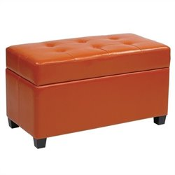 Vinyl Storage Ottoman in Orange
