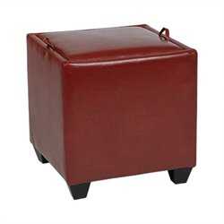 Storage Ottoman with Tray in Crimson Red
