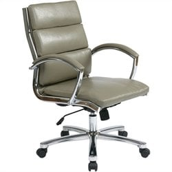 Office Star Deluxe Mid-Back Faux Leather Executive Office Chair in Smoke