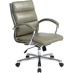 Office Star Deluxe Mid-Back Faux Leather Executive Chair in Smoke