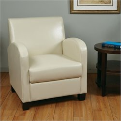 Office Star Metro Eco Leather Club Chair in Cream