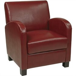 Office Star Metro Eco Leather Club Chair in Crimson Red