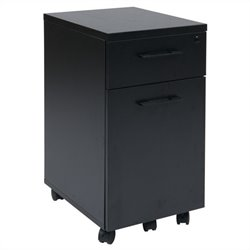 Mobile Filing Cabinet with Hidden Drawer in Black