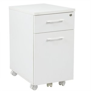Mobile Filing Cabinet with Hidden Drawer in White