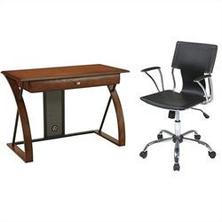Office Star Aurora Computer Desk and Dorado Vinyl Office Chair - White