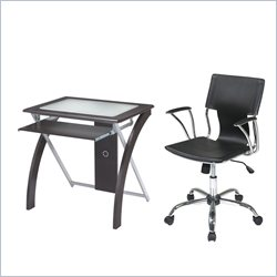 Office Star X-Text Computer Desk and Dorado Vinyl Office Chair - Black