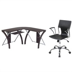 Office Star X-Text L Shaped Computer Desk and Dorado Vinyl Office Chair - Black