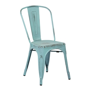 Metal Dining Chair in Antique Sky Blue (Set of 2)