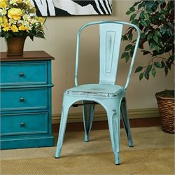 Office Star Bristow Metal Chair in Antique Sky Blue (Set of 2) - Set of 2