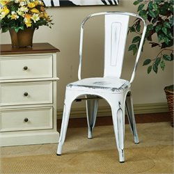 Office Star Bristow Metal Dining Chair in Antique White - Set of 2