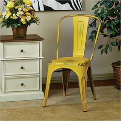 Office Star Bristow Metal Chair in Antique Yellow (Set of 2) - Set of 2