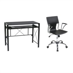 Office Star Creston Desk in Black with Dorado Vinyl Office Chair - Black