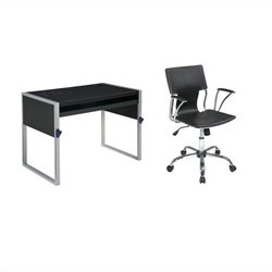 Office Star Elara Computer Desk with Reversible Silver/Black Top and Dorado Vinyl Office Chair - Black