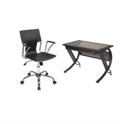 Office Star Horizon Desk with Keyboard and Dorado Vinyl Office Chair - Espresso