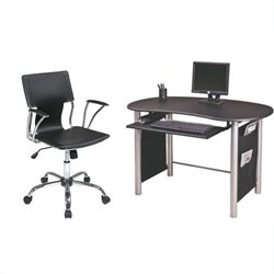 Multi-Media Computer Desk and Dorado Vinyl Office Chair