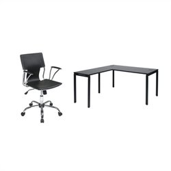 Office Star Prado L-Shape Workstation Desk in Black with Dorado Vinyl Office Chair - Black
