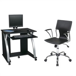 Office Star Saturn Computer Desk Black PVC Veneer and Dorado Vinyl Office Chair - Black