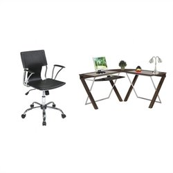 Office Star X-Text L-Shape Glass Top Wood Computer Desk and Dorado Vinyl Office Chair - Black