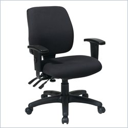 Office Star Mid Back Chair with Back Height Adjustment with Arms