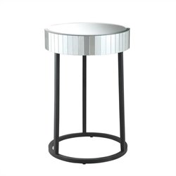 Office Star Krystal Round Mirror Accent Table with Metal Legs