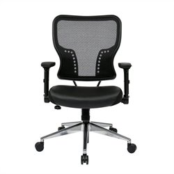 Office Star 213 Series AirGrid Back and Leather Seat Office Chair in Black