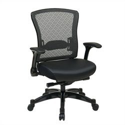 Office Star 317 Series Executive Eco Leather Back Office Chair in Black