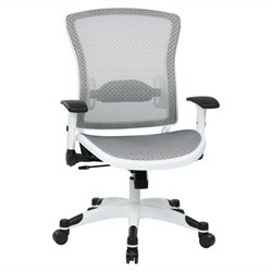 Office Star Pulsar Managers Office Chair with Padded Mesh Seat in White