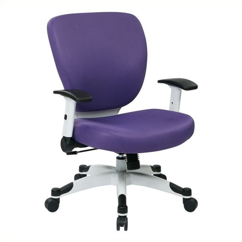Office Chair with Padded Mesh Seat and Back in Purple