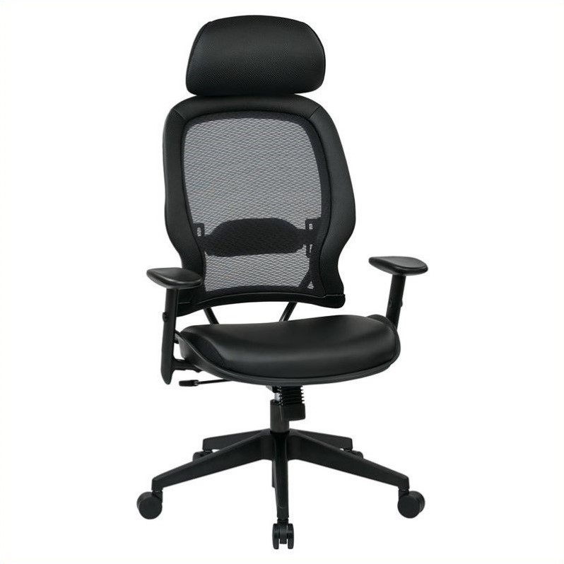 579 Series Air Grid Office Chair with Adjustable Headrest in Black