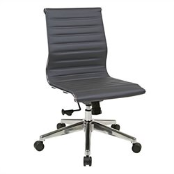 Office Star Armless Mid Back Eco Leather Chair in Grey