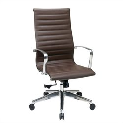 Office Star High Back Eco Leather Office Chair in Chocolate