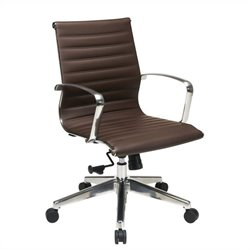 Office Star Mid Back Eco Leather Office Chair in Chocolate
