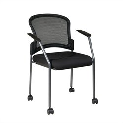 Office Star Rolling Visitors Guest Chair with Casters in Coal