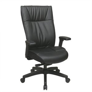 Leather Executive Office Chair with Arms in Black
