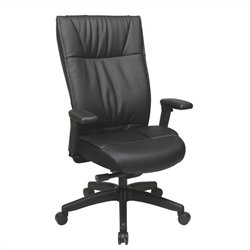 Office Star 973 Series Leather Executive Office Chair with Arms in Black