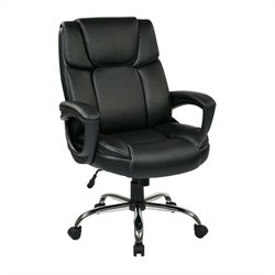 Office Star EC Series Eco Leather Office Chair with Padded Arms in Black