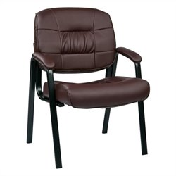 Office Star EC Series Eco Leather Visitors Guest Chair in Burgundy