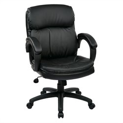 Office Star EC Series Mid Back Eco Leather Executive Chair in Black