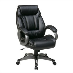Office Star ECH Series Eco Leather Chair with Padded Arms in Black