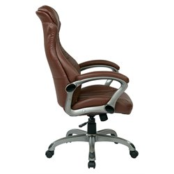 Office Star Work Smart Executive Leather Chair in Black