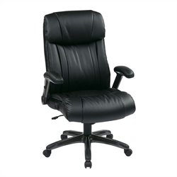Office Star ECH Series Eco Leather Chair in Titanium and Black