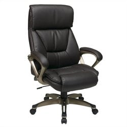 Office Star ECH Series Eco Leather Chair in Cocoa and Espresso